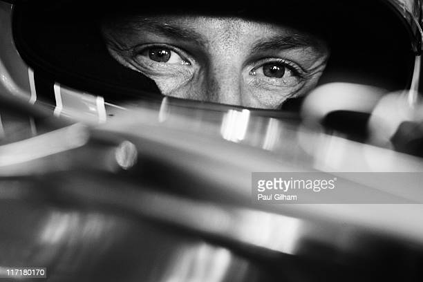 Jenson Button of Great Britain and McLaren prepares to drive during practice for the European Formula One Grand Prix at the Valencia Street Circuit...