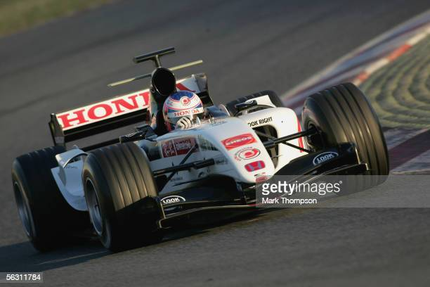 Jenson Button of Great Britain and team BAR Honda in action during Formula One winter testing at the Circuit De Catalunya on November 30 2005 in...