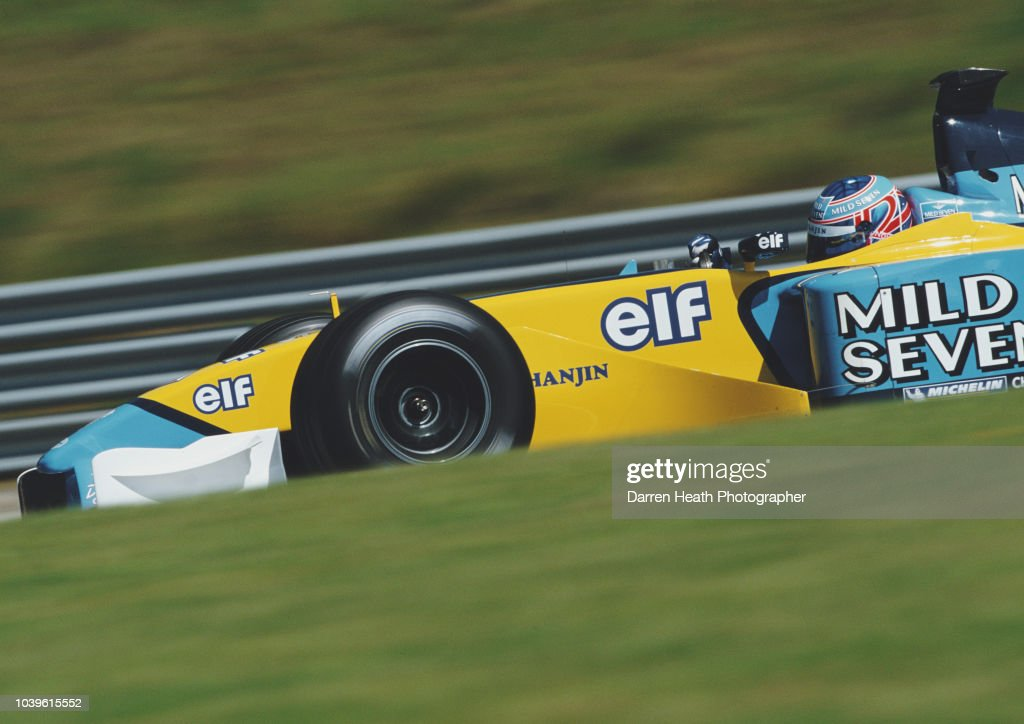 Jenson Button of Great Britain drives the #15 Mild Seven Renault F1 Team Renault R202 Renault RS22 V10 during the Formula One Austrian Grand Prix on 12 May 2002 at the A1-Ring, Spielberg, Austria.