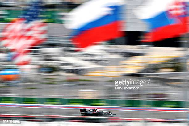 Jenson Button of Great Britain driving the McLaren Honda Formula 1 Team McLaren MP431 Honda RA616H Hybrid turbo on track during final practice ahead...