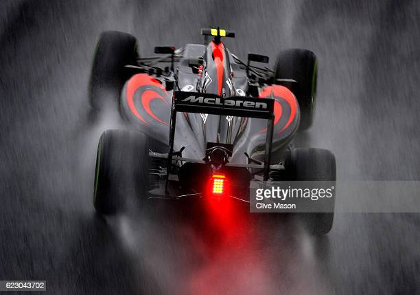 Jenson Button of Great Britain driving the McLaren Honda Formula 1 Team McLaren MP431 Honda RA616H Hybrid turbo on track during the Formula One Grand...