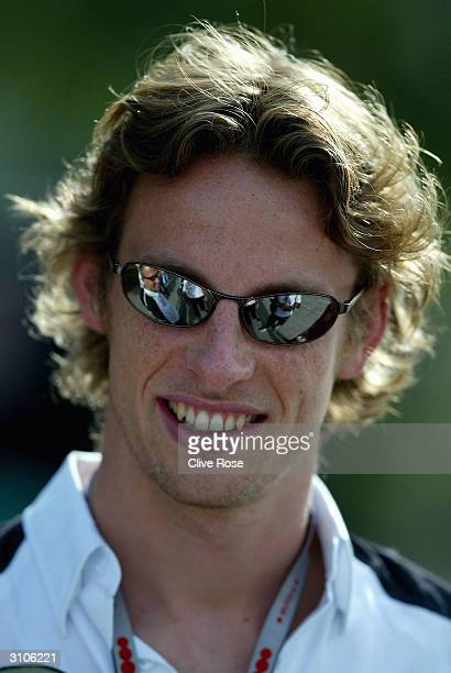 Jenson Button of Great Britian and BAR in the paddock prior to the 2004 Malaysian F1 Grand Prix at the Sepang Circuit on March 18 2004 in Kuala...