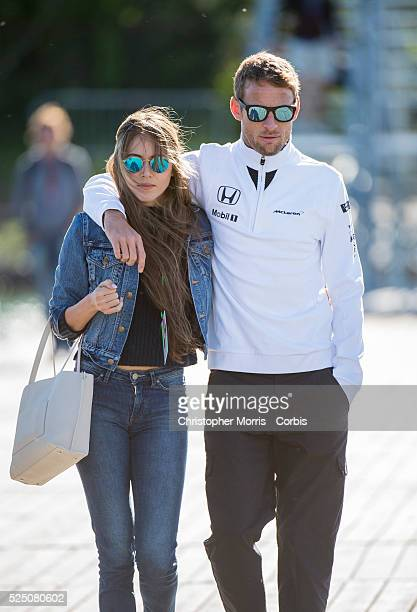 Jenson Button of McLaren Honda team with his wife Jessica Michibata arriving to practice at the Formula One World Championship 2015 Canadian Grand...