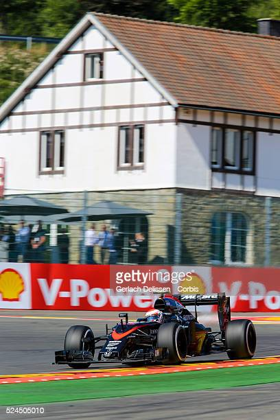 Jenson Button of the Mclaren Honda Team during the 2015 Formula 1 Shell Belgian Grand Prix free practise 1 at Circuit de SpaFrancorchamps in Belgium...