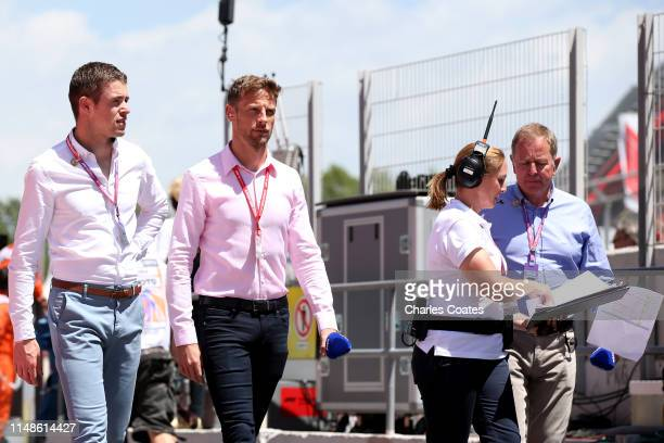 Jenson Button, Paul di Resta and Martin Brundle prepare before the F1 Grand Prix of Spain at Circuit de Barcelona-Catalunya on May 12, 2019 in...