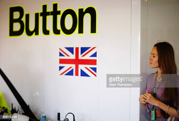 Jenson Buttons new girlfriend Jessica Michibata in his team garage during previews to the Australian Formula One Grand Prix at the Albert Park...