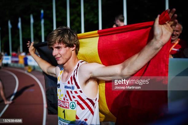 Jente Hauttekeete of Belgium poses after the Men's Decathlon U20 1500m during European Athletics U20 Championships Day 4 at Kadriorg Stadium on July...
