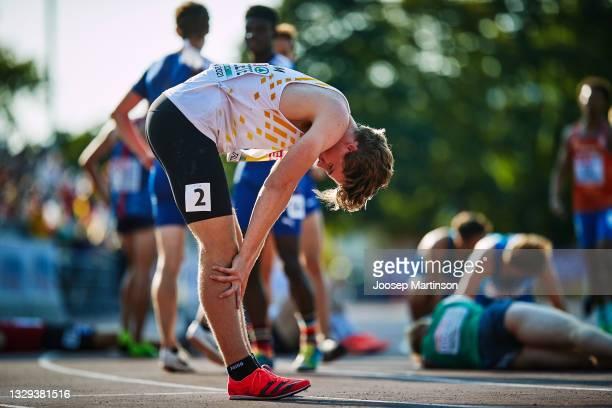 Jente Hauttekeete of Belgium reacts in the Men's Decathlon U20 1500m during European Athletics U20 Championships Day 4 at Kadriorg Stadium on July...