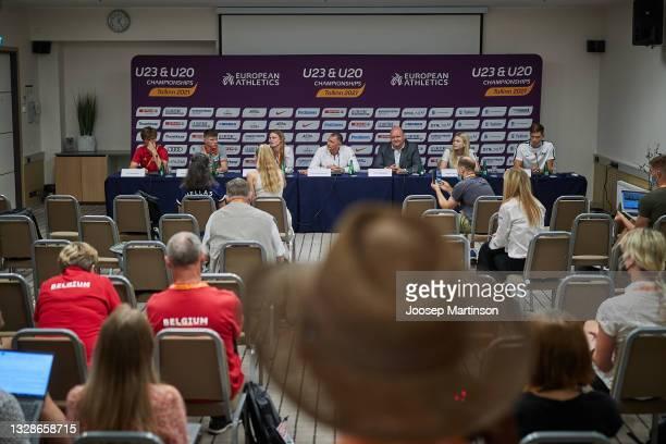 Jente Hauttekeete, Oliver Koletzko, Elina Tzengko, Dobromir Karamarinov, Erich Teigamägi, Pippi-Lotta Enok and Rasmus Roosleht speak to the media...
