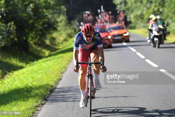 Jenthe Biermans of Belgium and Team Katusha Alpecin / and Team Katusha Alpecin Blue Most Aggressive Rider Jersey / during the 75th Tour of Poland...