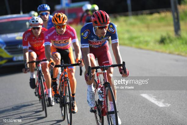 Jenthe Biermans of Belgium and Team Katusha Alpecin Blue Most Aggressive Rider Jersey / Michal Paluta of Poland and Team Ccc Sprandi Polkowice Pink...