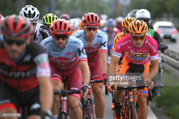 Jenthe Biermans of Belgium and Team Katusha Alpecin / Michal Paluta of Poland and Team Ccc Sprandi Polkowice Pink Mountain Jersey / during the 75th...