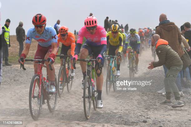 Jenthe Biermans of Belgium and Team KatushaAlpecin / Sep Vanmarcke of Belgium and Team EF Education First / Cobblestones / Gravel Strokes / Fans /...