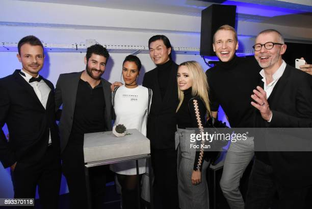 PR Jeoffrey Issautier boxer Cyril Benzaquen singer Shy'm PR Axel Huyhn singer Lorene Aldabra and guests attend the Lamborghini Party at Garage...
