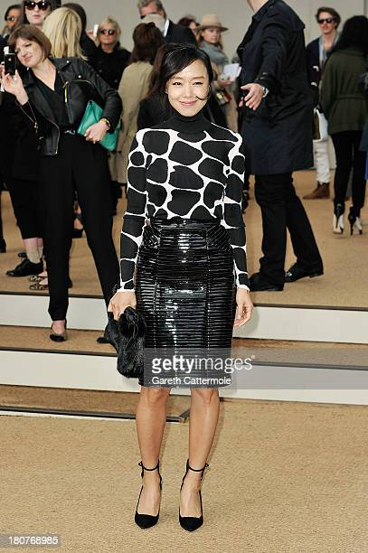 Jeon DoYeon arrives at Burberry Prorsum Womenswear Spring/Summer 2014 show during London Fashion Week at Kensington Gardens on September 16 2013 in...