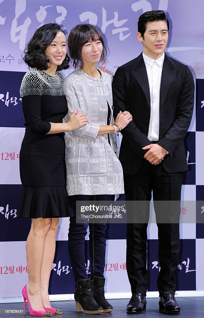 Jeon Do-Youn, director Bang Eun-Jin and Ko Soo attend the 'The Way Home' press conference at Apgujeong CGV on November 12, 2013 in Seoul, South Korea.