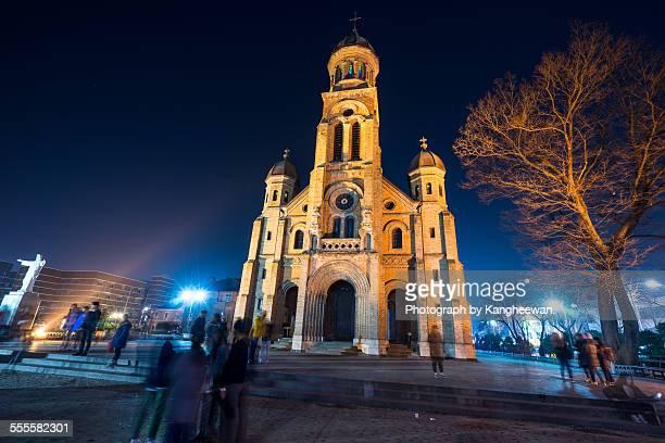 jeondong catholic church - jeonju stock photos and pictures