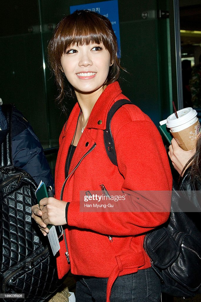 Jeong Eun-Ji (Jung Eun-Ji) of South Korean girl group A Pink is seen at Incheon International Airport on January 5, 2013 in Incheon, South Korea.