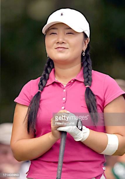 Jeong Jang prepares to tee off for the third round of the Weetabix Women's British Open at the Sunningdale Golf Club on July 31 2004