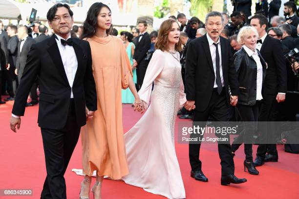 Jeong Jinyoung Kim Minheet Isabelle Huppert director Hong SangSoo and guest of 'Claire's Camera ' walk the red carpet ahead of the 'The Meyerowitz...
