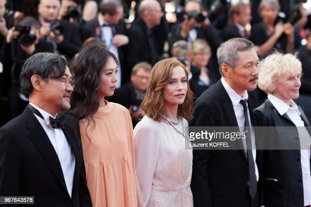 Jeong Jinyoung Kim Minheet Isabelle Huppert director Hong Sangsoo and Claire Denis of 'Claire's Camera ' attend the 'The Meyerowitz Stories'...