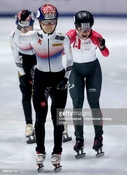 Jeong Min Choiu of Korea celebrates winning the ladies 1000m final A of the Audi ISU World Cup Short Track Speed Skating at Bok Hall on October 1...
