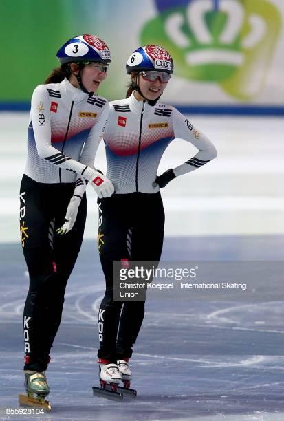 Jeong Min Choiu of Korea celebrates with Hee Suk Shim of Korea winning the ladies 1500m ladies final A of the Audi ISU World Cup Short Track Speed...