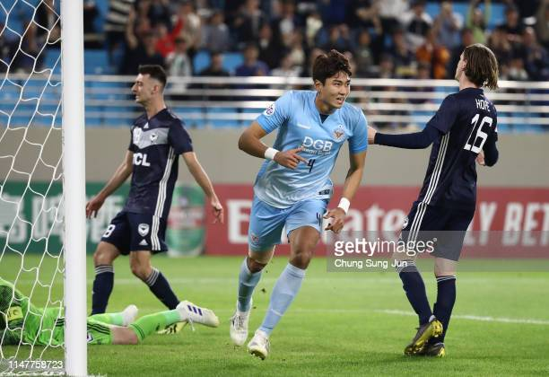Jeong Tae-wook of Daegu FC celebrates after scoring a second goal during the AFC Champions League Group F match between Daegu FC and Melbourne...