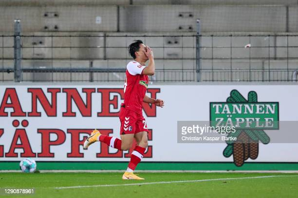 Jeong Woo-Yeong of SC Freiburg celebrates after scoring their team's second goal during the Bundesliga match between Sport-Club Freiburg and DSC...