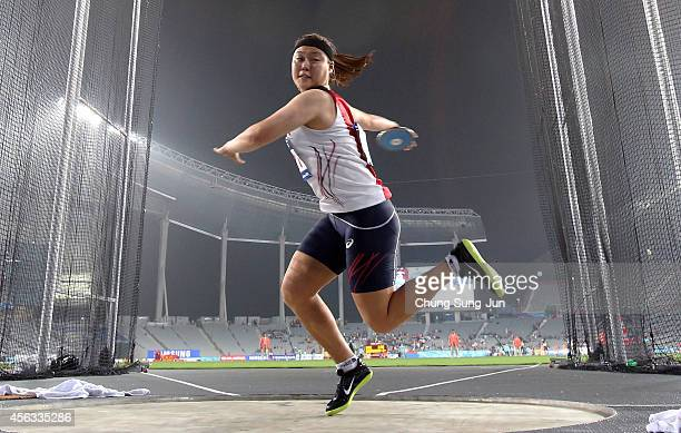 Jeong Yelim of South Korea competes in the Women's Discus Throw Final during day ten of the 2014 Asian Games at Incheon Asiad Main Stadium on...