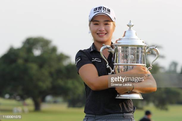 Jeongeun Lee6 of South Korea celebrates with the trophy after winning the US Women's Open Championship at the Country Club of Charleston on June 02...