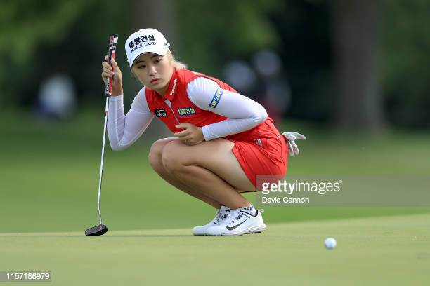 Jeongeun Lee6 of South Korea lines up a putt on the par 5 11th hole during the first round of the 2019 KPMG Women's PGA Championship at Hazeltine...