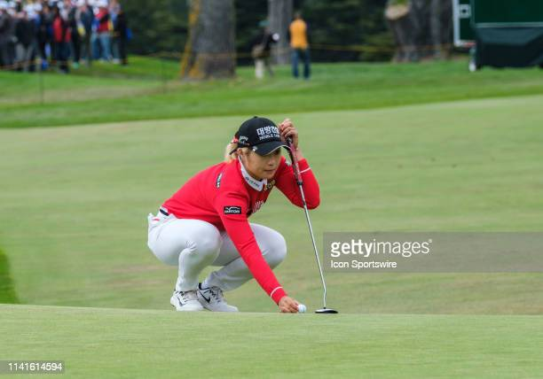 Jeongeun Lee6 setting up her putt for a possible eagle on the 18th hole during Round 4 of the 2019 LPGA MediHeal Championship on Sunday May 05 2019...
