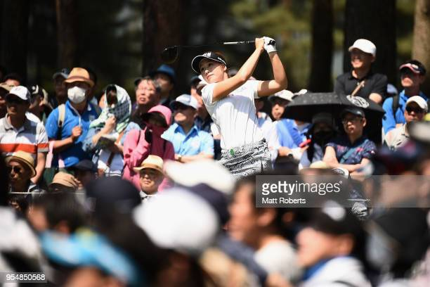 Jeongeun6 Lee of South Korea hits her tee shot on the 3rd hole during the third round of the World Ladies Championship Salonpas Cup at Ibaraki Golf...