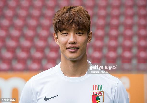 JeongHo Hong of Augsburg poses during the official photo shooting of the Bundesliga soccer Team 2015/16 of FC Augsburg at the WWK Arena in Augsburg...