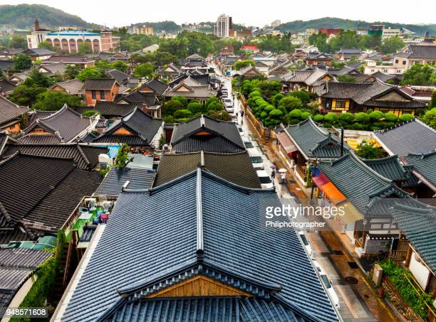 jeonju old town: hanok village - jeonju stock pictures, royalty-free photos & images