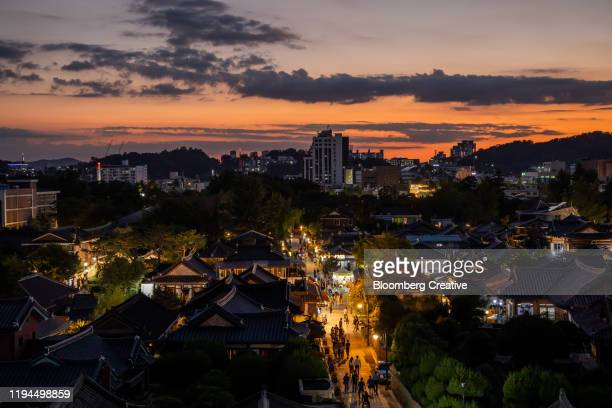 jeonju skyline - jeonju stock pictures, royalty-free photos & images