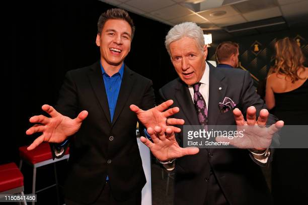 Jeopardy host Alex Trebek poses with Jeopardy champion James Holzhauer backstage at the 2019 NHL Awards at the Mandalay Bay Events Center on June 19...