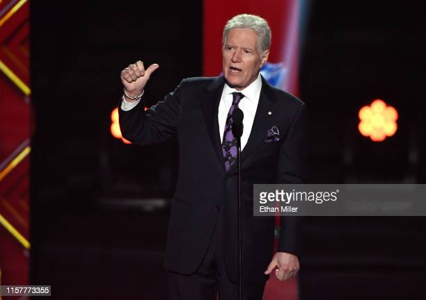"Jeopardy!"" host Alex Trebek presents the Hart Memorial Trophy during the 2019 NHL Awards at the Mandalay Bay Events Center on June 19, 2019 in Las..."