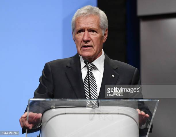 Jeopardy host Alex Trebek speaks as he is inducted into the National Association of Broadcasters Broadcasting Hall of Fame during the NAB Achievement...