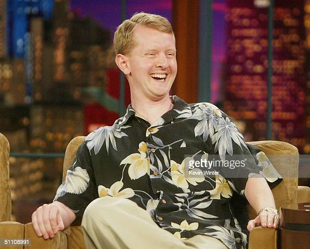 Jeopardy winner Ken Jennings appears on The Tonight Show with Jay Leno at the NBC Studios on July 22 2004 in Burbank California