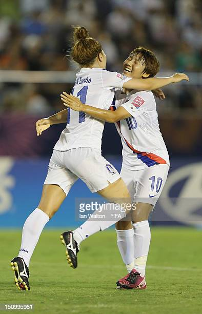 Jeoun Eunha of Korea Republic celebrates with Yeo Minji after scoring their first goal during the FIFA U20 Women's World Cup QuarterFinal match...