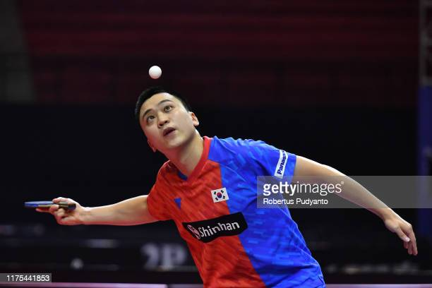 Jeoung Youngsik of Korea competes against Liao Cheng-Ting of Chinese Taipei during Men's Team semi-final match on day four of the ITTF-Asian Table...