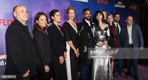 Jeph Lobe CarrieAnne Moss Janet McTeer Eka Darville Krysten Ritter Melissa Rosenberg Rachael Taylor JR Ramirez and guest attend Netflix's 'Marvel's...
