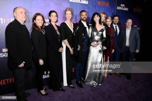 Jeph Loeb CarrieAnne Moss Janet McTeer Eka Darville Krysten Ritter Melissa Rosenberg Rachael Taylor JR Ramirez and a guest attend 'Jessica Jones'...