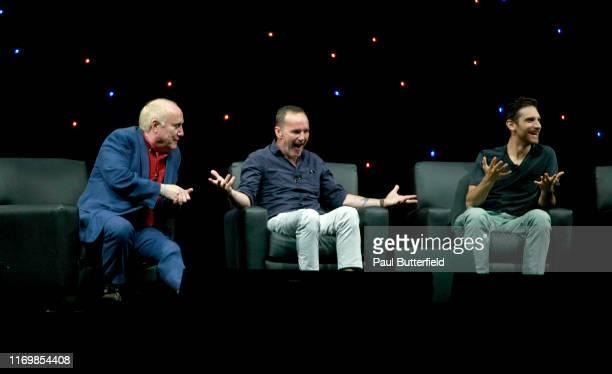 "Jeph Loeb, Clark Gregg, and Jeff Ward speak at Marvel's ""Agents of S.H.I.E.L.D."" panel during the 2019 D23 Expo at Anaheim Convention Center on..."