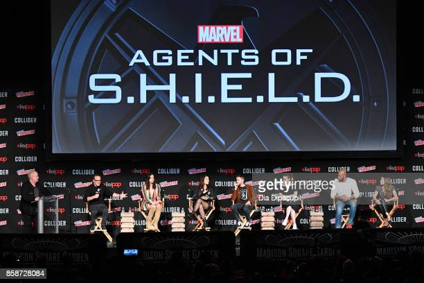 Jeph Loeb Clark Gregg Chloe Bennet MingNa Wen Iain De Caestecker Elizabeth Henstridge Henry Simmons Natalia CordovaBuckley speak at the Marvel's...