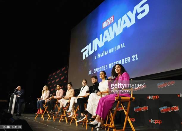 Jeph Loeb Stephanie Savage Rhenzy Feliz Lyrica Okano Virginia Gardner Gregg Sulkin Ariela Barer and Allegra Acosta attend Hulu's 'Runaways' panel at...