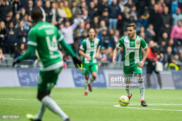 Jeppe Andersen of Hammarby IF during a match between Djurgardens IF and Hammarby IF at Tele2 Arena on April 29 2018 in Stockholm Sweden
