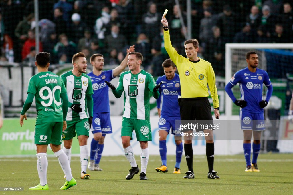 Jeppe Andrup Andersen of Hammarby IF is shown a yellow card during the Allsvenskan match between GIF Sundsvall and Hammarby IF at Norrporten Arena on October 29, 2017 in Sundsvall, Sweden.